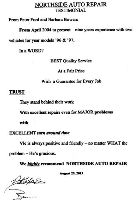 Peter Ford Testimonial - Best quality auto repair service from Northside Auto Repair