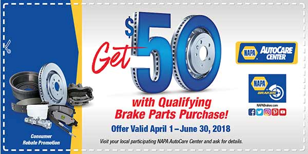 NAPA Brakes installed gets you $50 back