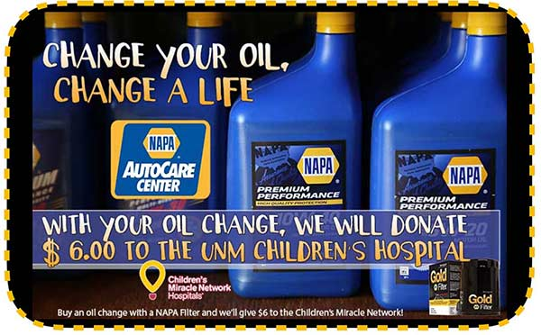 Your Oil Change contributes $6 to the UNM Children's Hospital