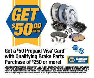 Get $50 Back on select NAPA Brakes